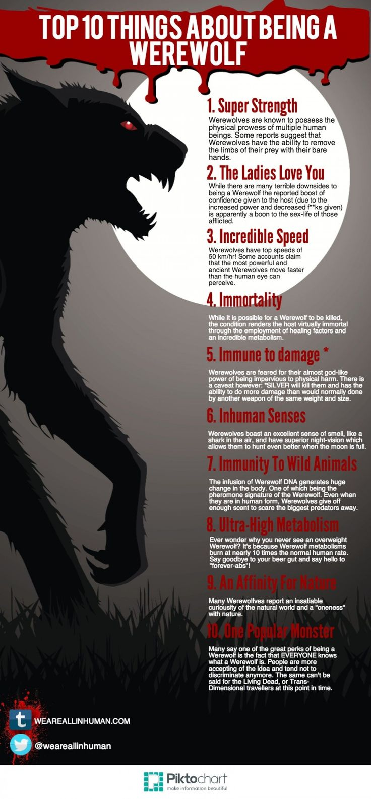 Not all true (looking at you, immortality and invincibility) but still fun. Top 10 Things About Being a Werewolf Infographic