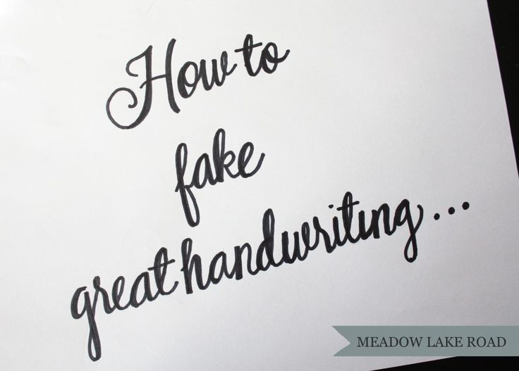 How to fake great handwriting...