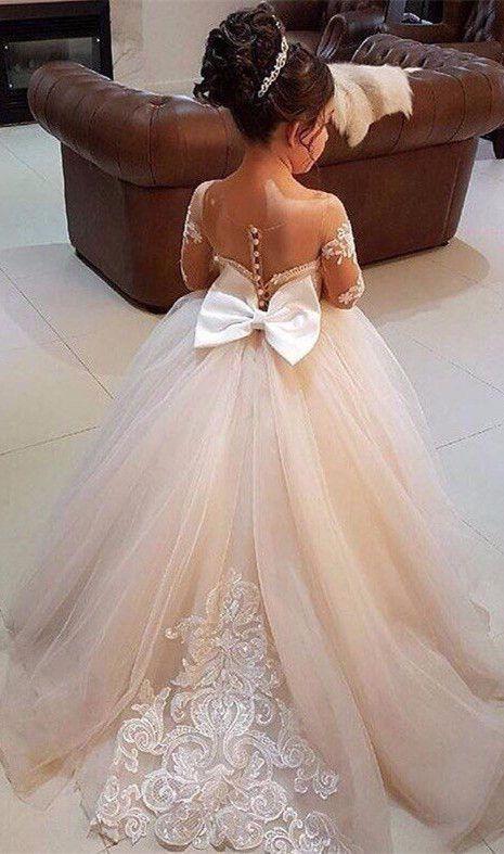 Bowknot Tulle Lace Flower Girl Dress On Sale From 27dress.com.  #tulledress #flwoergirldress #2018girlspageantdress #lovelydress