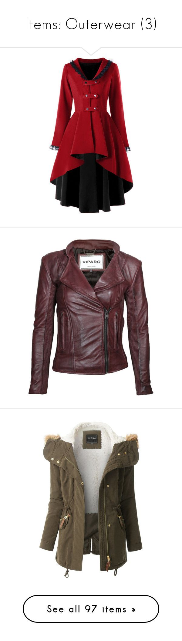 """""""Items: Outerwear (3)"""" by jess-nichole ❤ liked on Polyvore featuring outerwear, coats, jackets, red coat, gothic coat, goth coat, red leather jackets, leather jackets, brown jacket and brown leather jackets"""