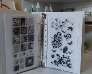 """Acrylic Stamp Storage - 'I cut white card stock in half to 8 1/2"""" x 5 1/2"""" sheets. I used double stick tape to adhere each acrylic stamp sheet to the paper (each set has it's own sheet of paper), labeled them and put each set into the 5 1/2 x 8 1/2 sheet protector. I was able to fit 2 sets in each sheet protector (back to back) and about 10 sets per binder.'"""