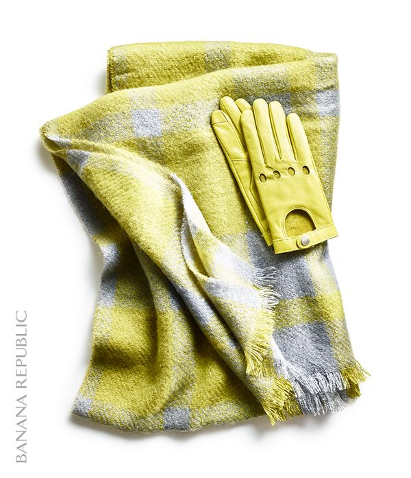 Gift idea for her: pair a few special accessories to make the perfect present like these genuine leather moto texting gloves and a matching oversized scarf. These leather gloves are a fun, bright citron color (also available in other colors), and she'll love the special fingertip fabrication that allows for typing on a touchscreen. The coordinating alma plaid scarf will be put to use this winter, and the two together make for the perfect present pairing.
