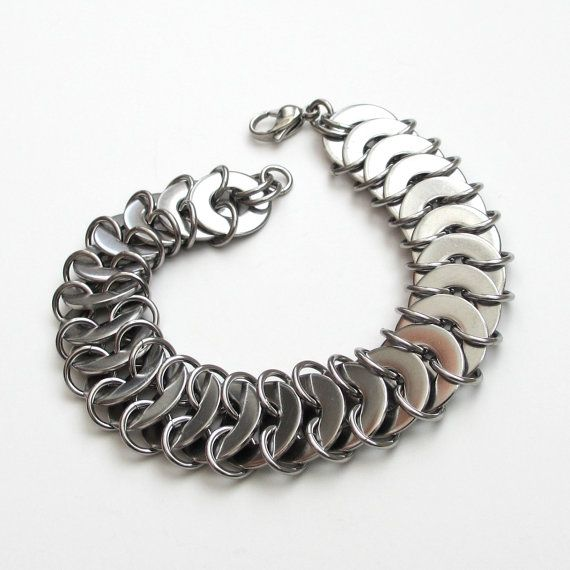 Stainless steel chainmail bracelet, washer maille by TattooedAndChained, $45.00