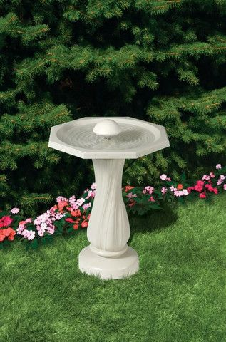 API Water Rippling Bird Bath W/Pedestal from Miller Manufacturing. Unheated and heated versions available.