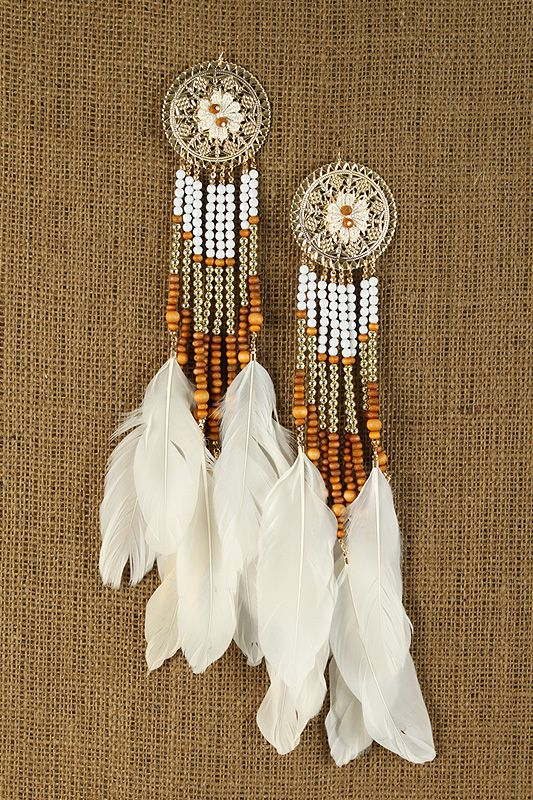 beaded dream catcher earrings<3