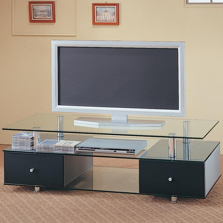 Coaster TV Stands Contemporary Glass Media Console With Drawers   Coaster  Fine Furniture