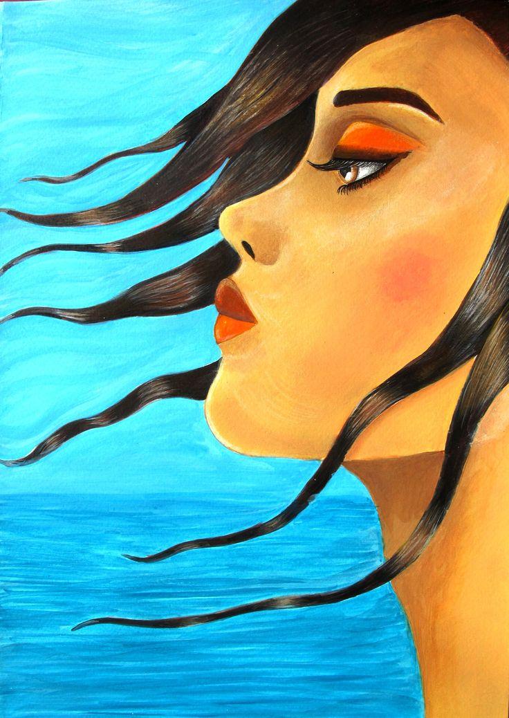 acrylic, portrait, blue, sea