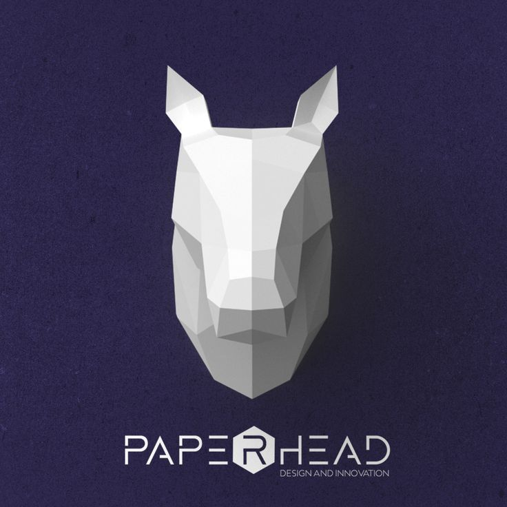 Wall-type Horse Head template PDF by PaperheadDesign on Etsy #Horse #Paperhead #Polygonal