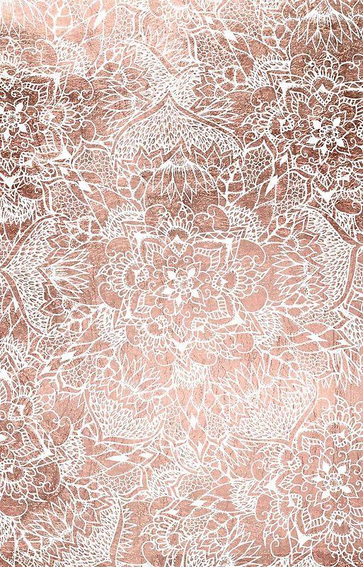 Modern faux rose gold floral mandala hand drawn