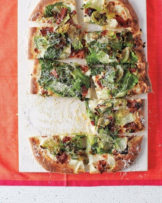 Bacon-and-Escarole Pizza Recipe: Marthastewart, Everyday Food, Baconandescarol Pizza, Dinners, Pizza Recipes, Bacon And Escarol Pizza, Martha Stewart, Comforter Food Recipes, Homemade Pizza