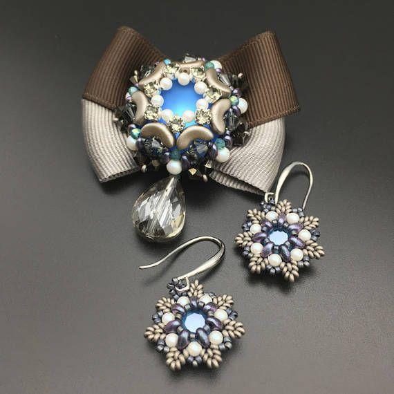 beaded brooch beaded jewelry set brooch and earrings beaded