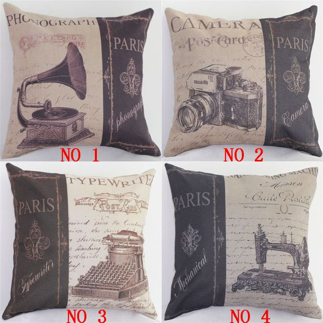Vintage Cotton Linen Waist Cushion Cover Camera Phonograph Pattern Car Sofa Pillowcase Throw Pillow Cover Home Decor