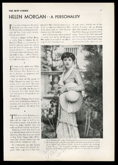 This is an old Ads 1929 Helen Morgan photo Lux Soap vintage