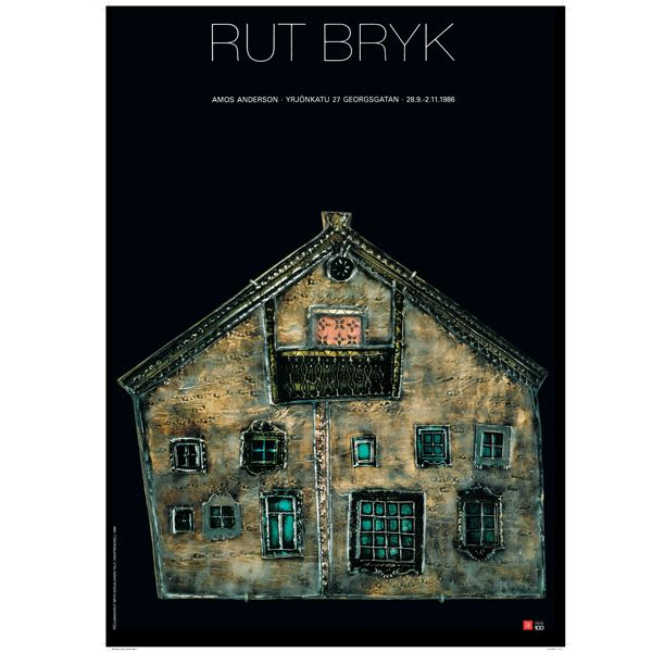 "The poster designed by Juhani Pallasmaa presents a picture of a ceramic piece by Rut Bryk called Karjalaisten Talo (""The House of the Karelians""). The poster was designed for Rut Bryk's exhibition showcased in the 80's both in Amos Andersson art museum and in Rovaniemi art museum."