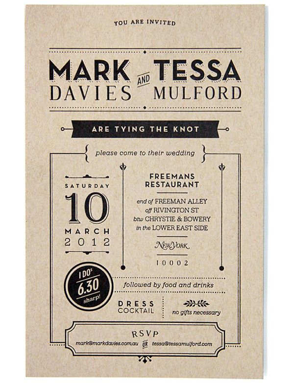 294 best cards inspiration images on pinterest invitations paper american graphic designer tessa mulford worked on this fantastic wedding invitation for her own wedding the key was to make it nice and casual in order to stopboris Gallery