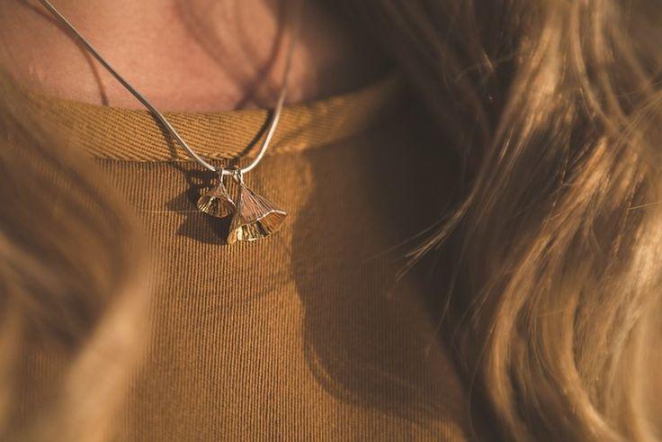 Leonie Cornelius modelling the Martina Hamilton Shell Cone Pendant. Irish jewelry made in Ireland.