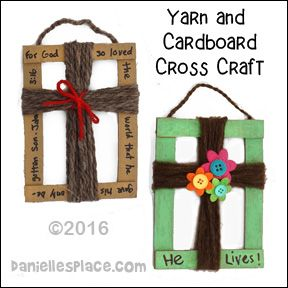 Yarn and Cardboard Cross Craft for Children's Ministry from www.daniellesplace.com