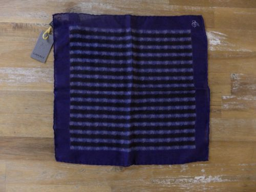 auth CANALI blue wool pocket square handkerchief - NWT