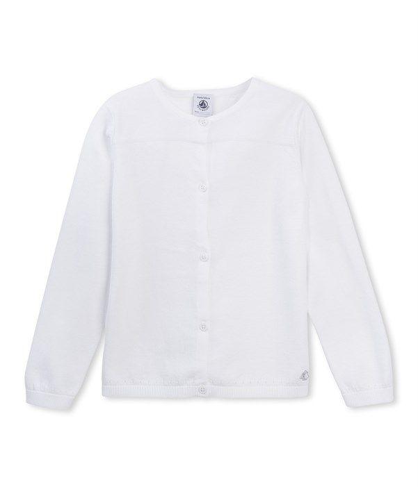 Cardigan fille en tricot Petit Bateau blanc