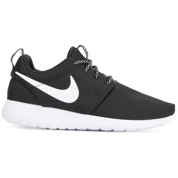 Nike 'Roshe One' sneakers ($110) ❤ liked on Polyvore featuring shoes, sneakers, black, black sneakers, flat sneakers, black trainers, lace up sneakers and flat shoes