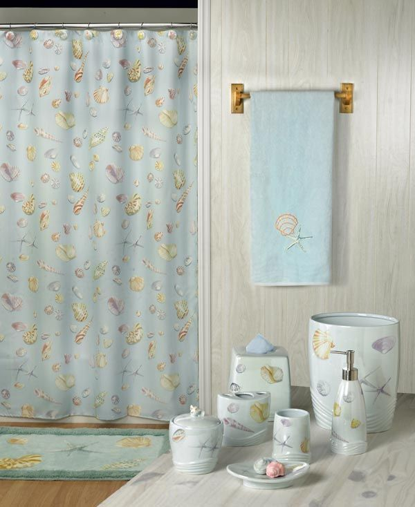 1000 images about beach bathroom decor inspiration on for Seashell bathroom accessories