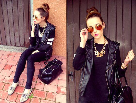 biker vest and mirror glasses <3