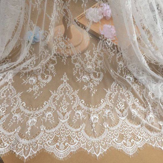 3 yard Vintage style chantilly lace fabric in ivory by Retrolace