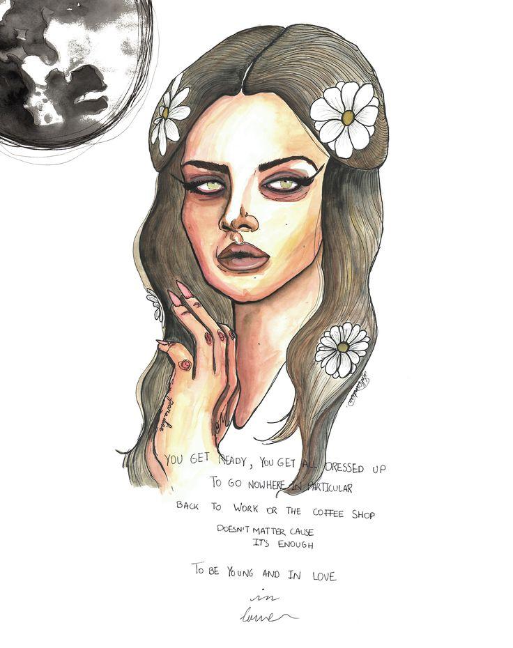 «Love» song by Lana del Rey, by @aleksandravss  #lanadelrey #love #music #pop #art #ink #watercolor #portrait