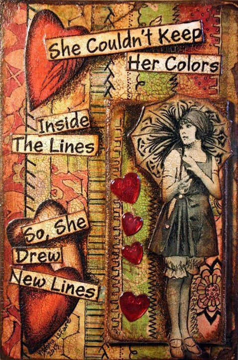 "I'd prefer, ""she didn't want to keep her colors inside their lines, so she drew her own"""