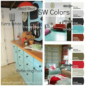 Sherwin Williams paint colors: Reflecting Pool, Real Red, Extra White