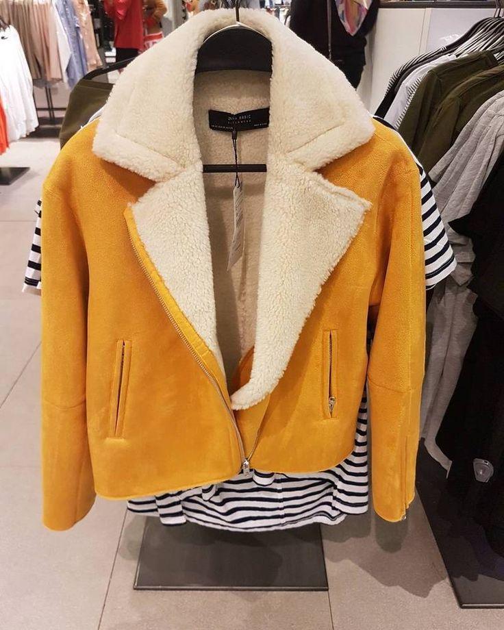 ZARA New Mustard Faux Suede Shearling Effect Jacket Size M UK 10