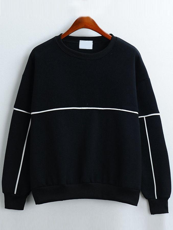 Sweat-shirt+décontracté+col+rond+-noir+13.26