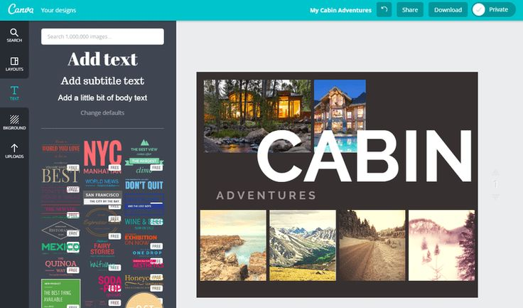 Screenshot of the free online photo collage maker Canva