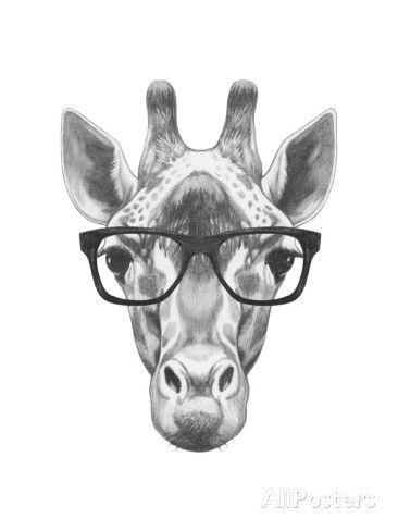 Portrait of Giraffe with Glasses. Hand Drawn Illustration. Art Print