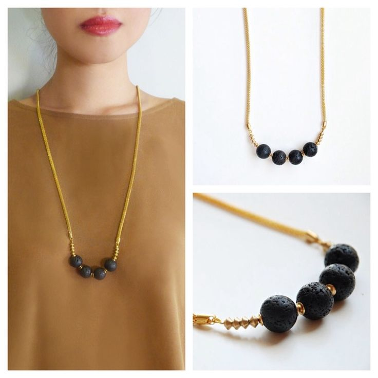 Lava stones necklace with golden plated rope