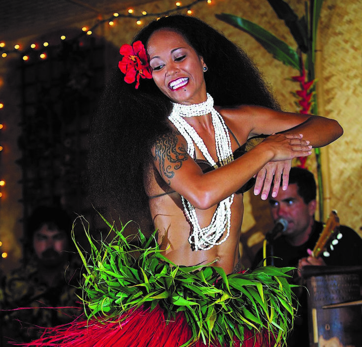 Hanalei's famous Tahiti Nui Luau and Dinner show. $221 for the 5 of us
