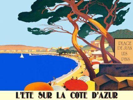 """CANVAS La Cote D Azur Place Juan Les Pins Beach Sailboat Horizontal Ocean Travel France French 16"""" X 22"""" Image Size Vintage Poster Reproduction ON CANVAS"""