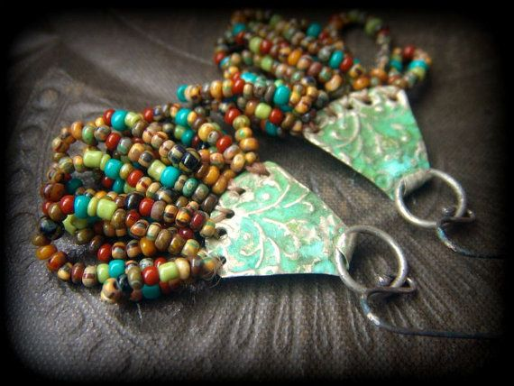 Colorful Looped Glass and Kuchi Tin Beaded by YuccaBloom, let me know if you want a pair!