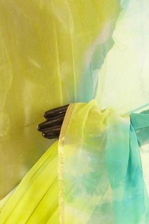 chiffon bright lime green light persian sea green saree with blouse