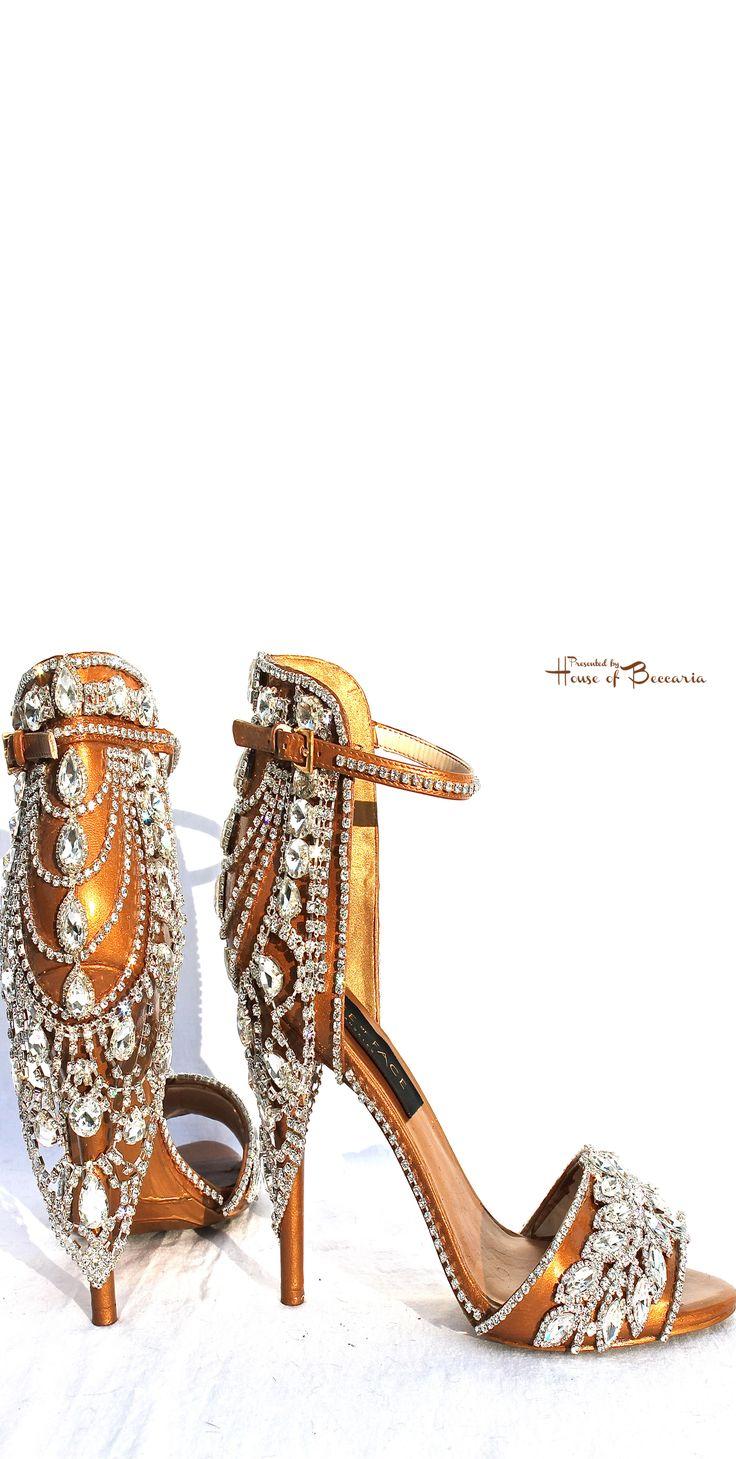 ~House of Face - Swarovski Crystal Embellished Gold Sandals | House of Beccaria