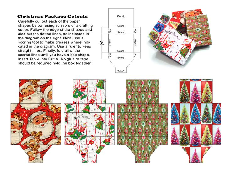 Miniature Christmas themed gift boxes to print out | Source: Toyshop Greetings