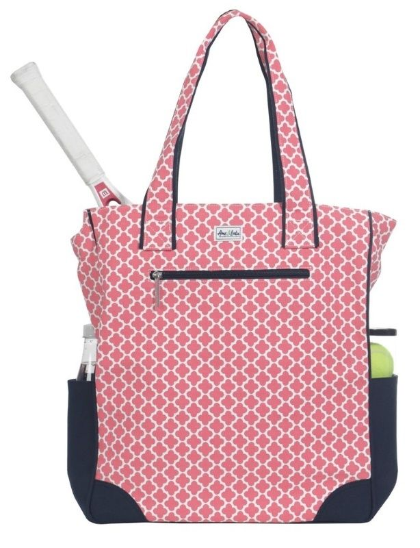 The perfect tennis bag for the stylish tennis player. Pack and carry all of your tennis gear in the classic Clover Ame & Lulu Ladies Emerson Tennis Tote Bag, in our newest pink and navy pattern!