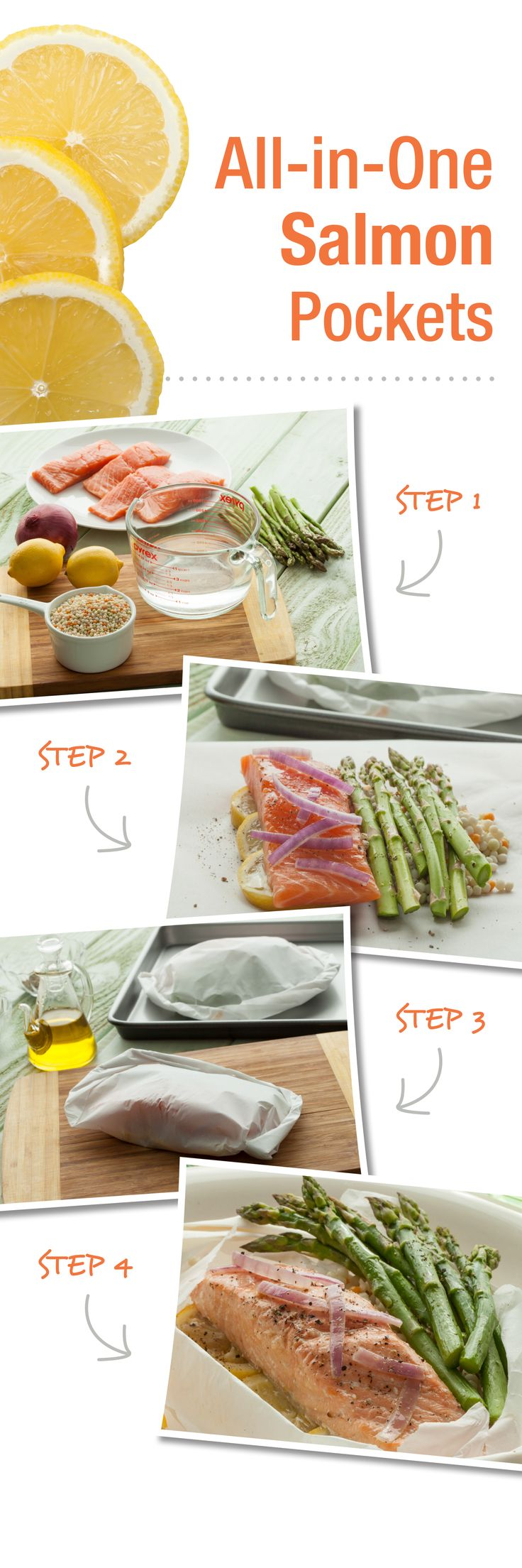 All-In-One Salmon Pockets – This no-fuss, easy salmon recipe is baked in parchment paper to lock in citrus and asparagus flavors.