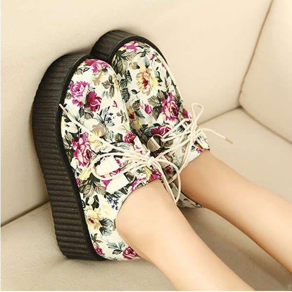 Harajuku Style Bohemia Print Shivering Platform Women's Casual Shoes