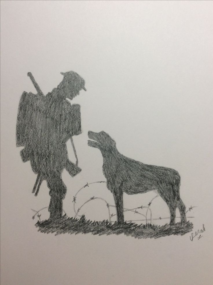 No repins please. Silhouette of Stanley and Bones from one of my favorite books, Soldier Dog