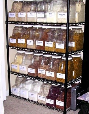 Food storage ideas and container resources. This person keeps a year's supply of food on hand!