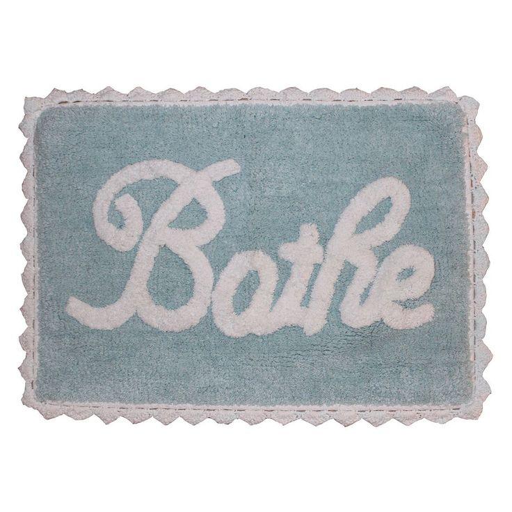 """Park B. Smith Metro Farmhouse """"Bathe"""" Bath Rug, Blue"""