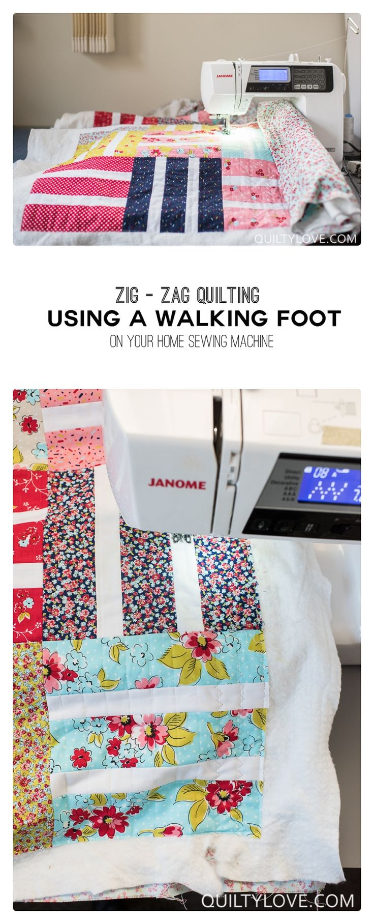How to quilt zig zag walking foot quilting using your walking foot on  your home sewing machine. Easy walking foot quilting to quilt your own  quilts.  Free quilting tutorial by Emily of quiltylove.com.