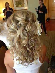 medium length bridal hairstyles half up - Google Search