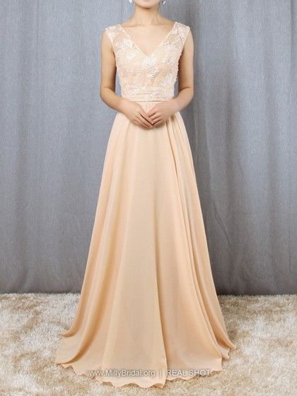 05c70616a0 A-line V-neck Chiffon Tulle Floor-length Appliques Lace Prom Dresses  165.99